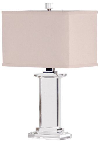 Clear Crystal Pedestal Table Lamp With Shade
