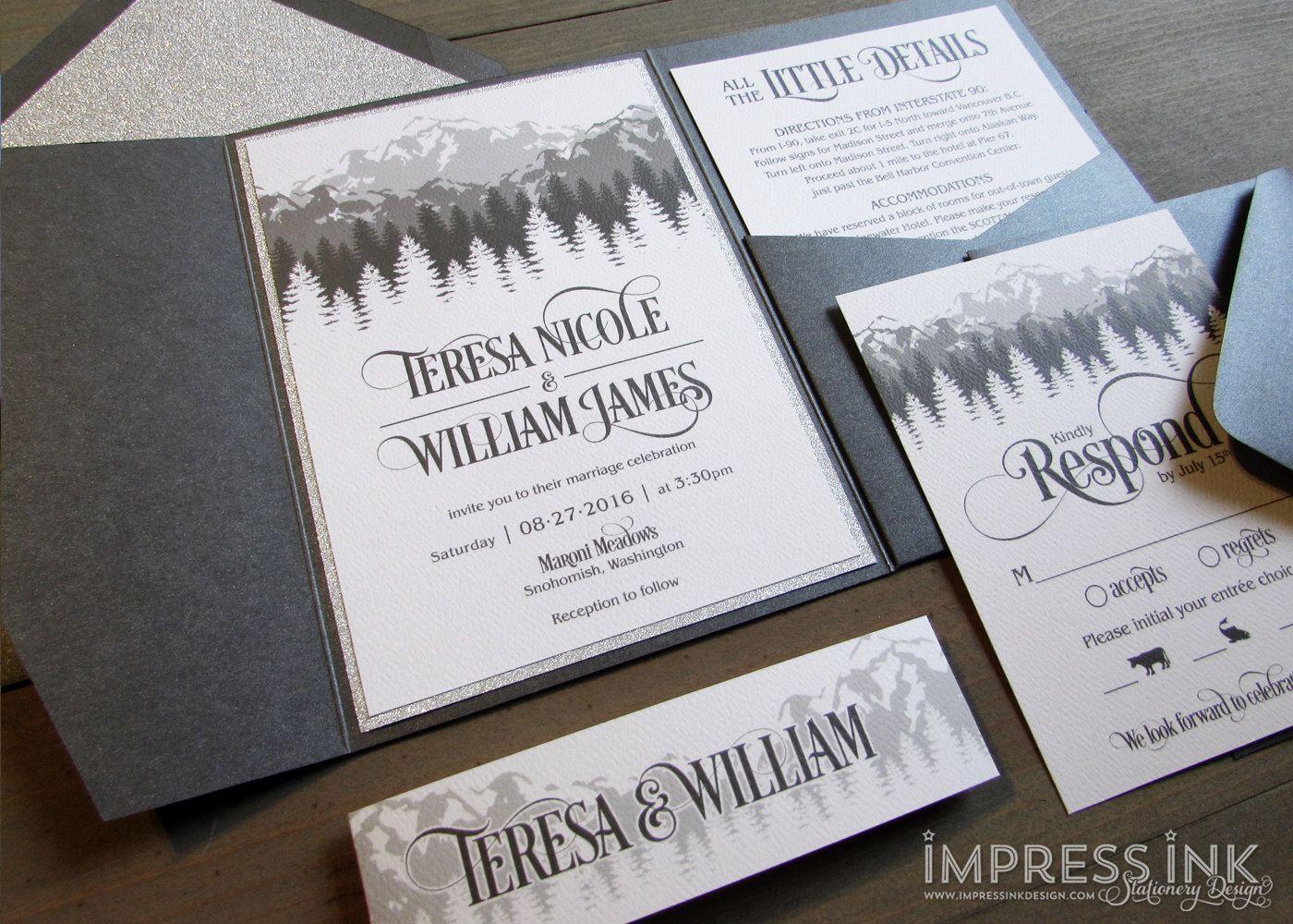 Rocky Mountains Wedding Invitation Sample | Flat or Pocket Fold ...