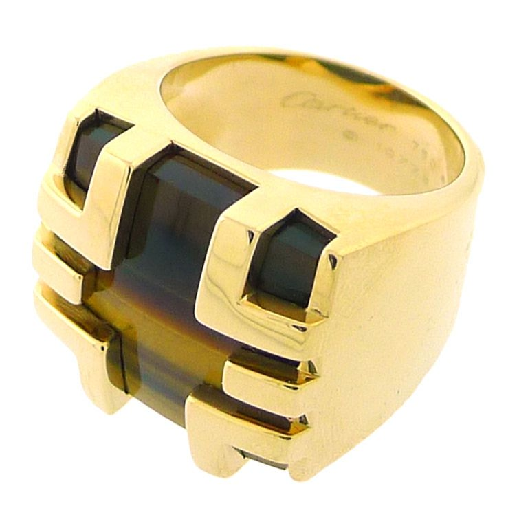 CARTIER Yellow Gold Tigers Eye Mens Ring Cartier Ring and Eye