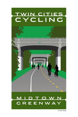 Twin Cities Cycling Midtown Greenway poster
