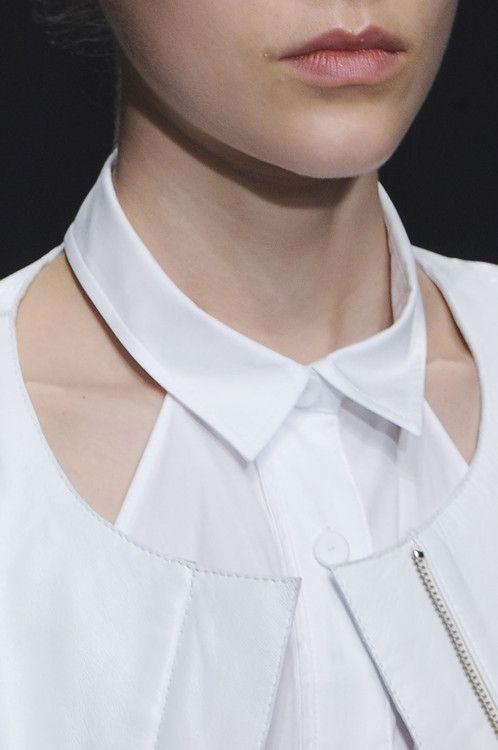 White Shirt Collar Detail Close Up Fashion Design Details