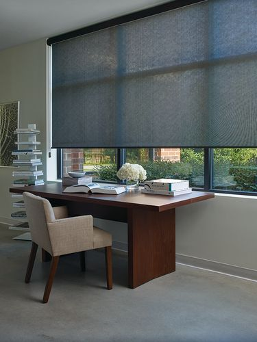Enjoy the view from your office or home office.  Screen shades help keep the light in while providing privacy when needed.  Commercial or residential - we have your windows covered!