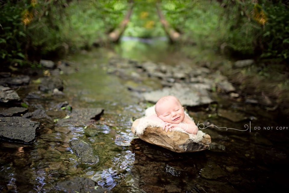 Baby boy outside creek bowl newborn photography nashville 1