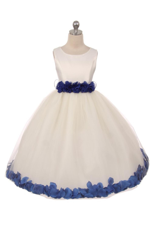 8b1401331c Ivory Royal blue Satin   Tulle Petal Flower Girl Dress with Floral Sash