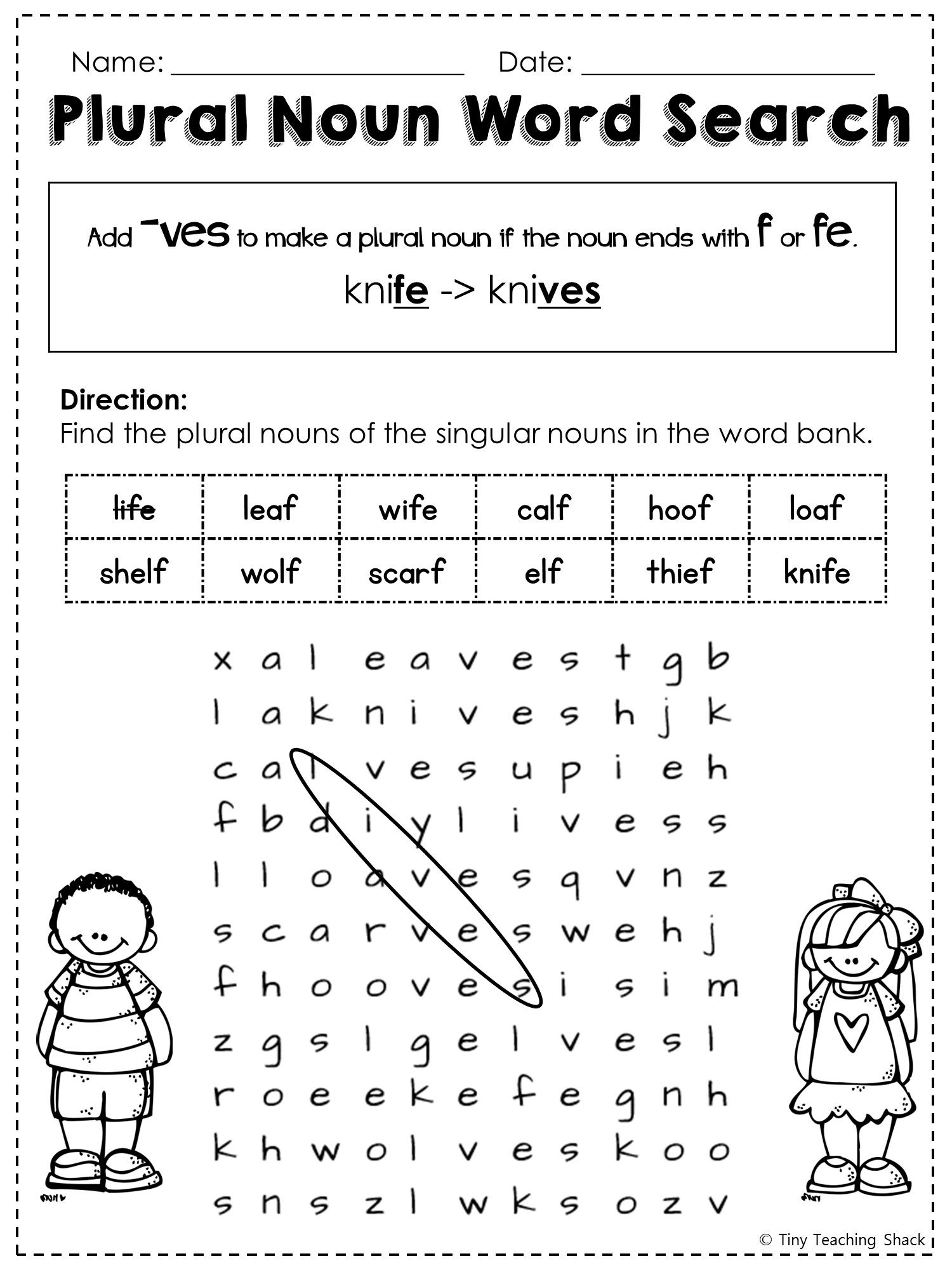 FREE irregular plural noun word search – Irregular Plural Noun Worksheets