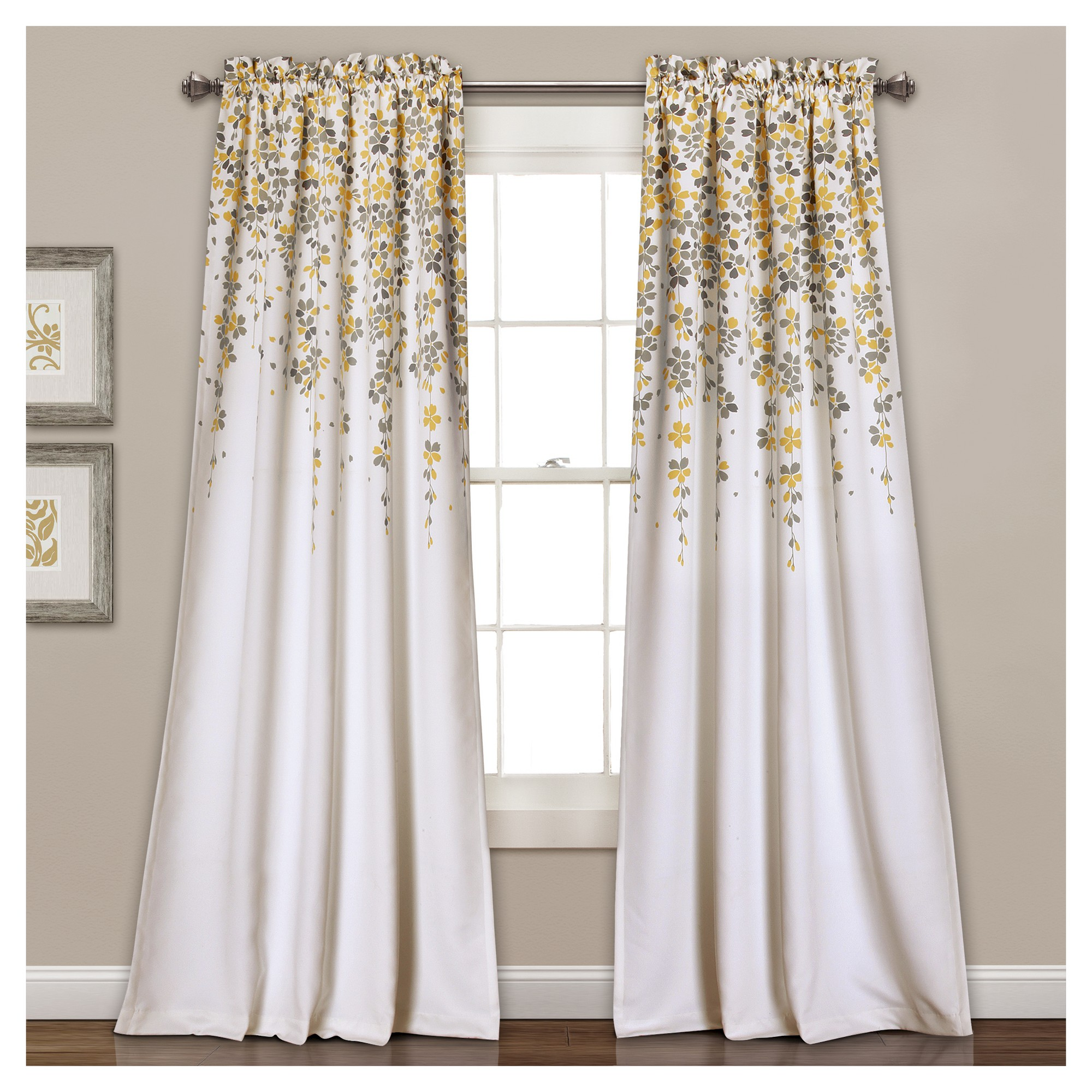 Weeping Flowers Room Darkening Window Curtain Set Yellow Gray