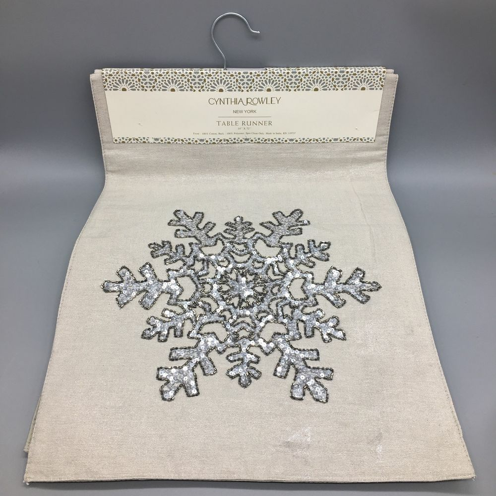 Cynthia Rowley Winter Table Runner Snowflake Bead Sequin Holiday Shimmer Silver  #CynthiaRowley