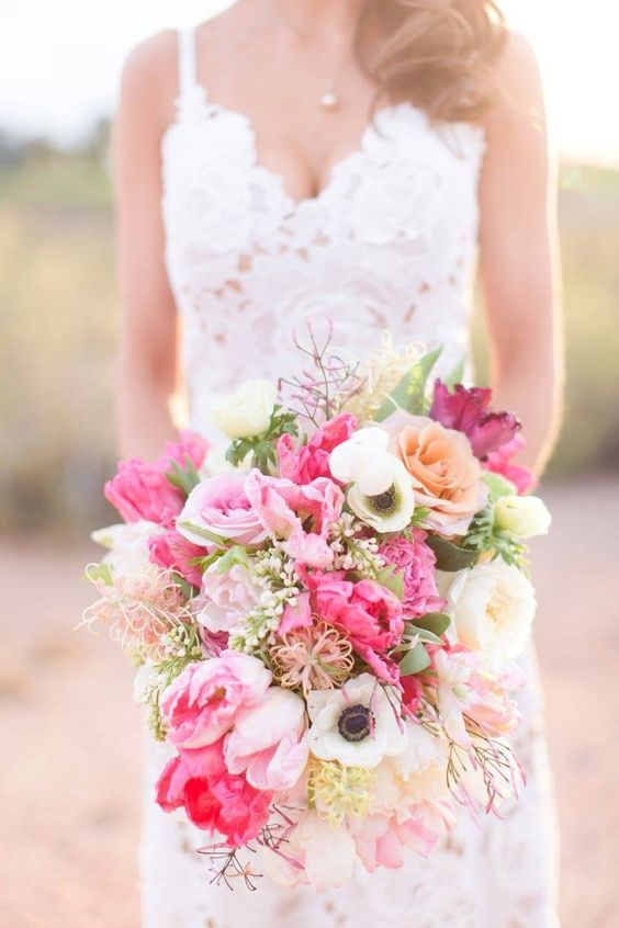 Unique Pink Wedding Bouquet | Flower types, Wedding and Boutonnieres