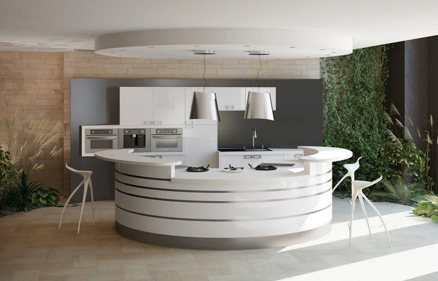 cuisine circulaire de la marque celtis mod le alicante les courbes du plan de travail corian. Black Bedroom Furniture Sets. Home Design Ideas