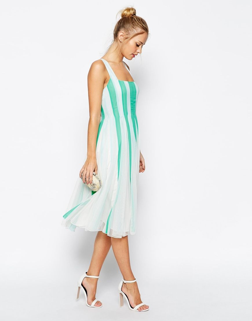 Asos wedding guest dress midi  Image  of ASOS Mesh Insert Fit And Flare Square Neck Midi Dress  s