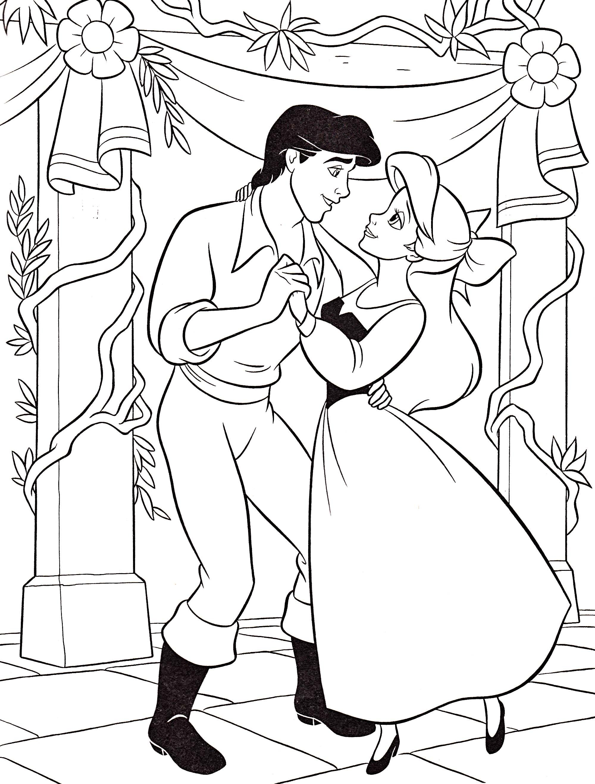 Princess Ariel Is Being Danced With Eric Coloring Pages | Disney ...