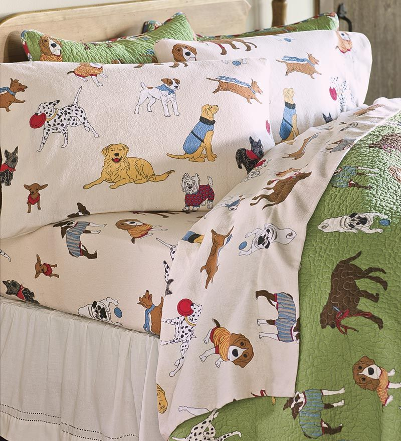 Cozy flannel Doggone Good Time Sheets are perfect for pup
