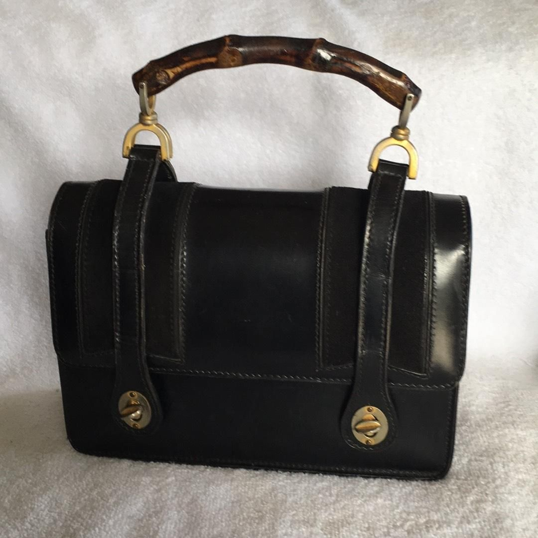 e73be75b2798 Gucci Bamboo Lunchbox 1960s Satchel in Black | Vintage Gucci Bags Available