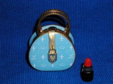 Limoges - Blue Purse w/ red lipstick inside