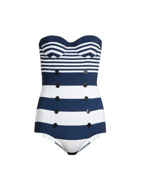 DOLCE & GABBANA Stripe-Print Balconette Swimsuit. #dolcegabbana #cloth #swimsuit