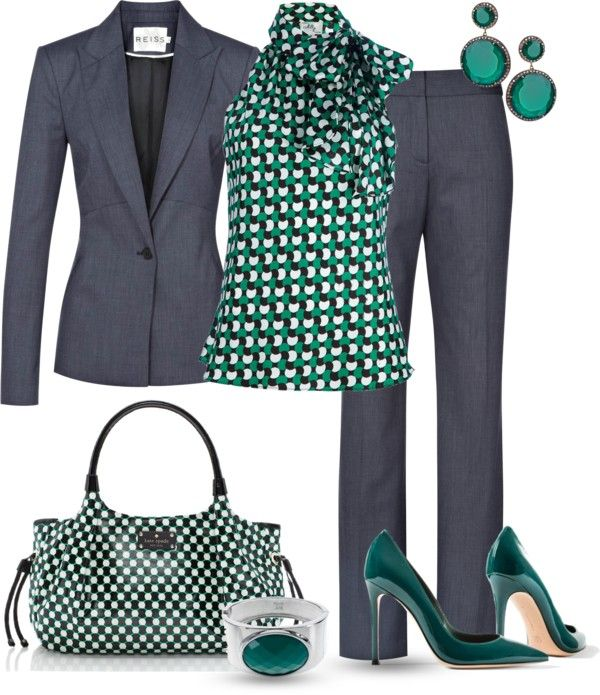"Chic Professional Woman Outfit. ""Green Grey for Work"" by yasminasdream on Polyvore"