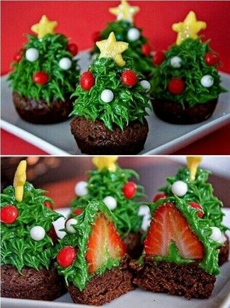 Start by making chocolate cupcake (try a brownie mix yum) than place a strawberry upside and decorate. If you don't have a template icing maker you can cut criss cross on zip lock bag to create. Add mini red & white candies which can be found in bakery area of store...Enjoy G;)