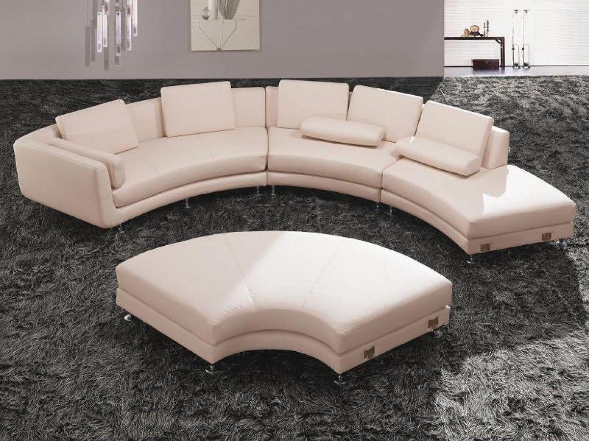 Divani Casa A94 White Leather Sectional Sofa Ottoman Modular Sectional Sofa Contemporary Leather Sectional Sofa Sectional Sofa