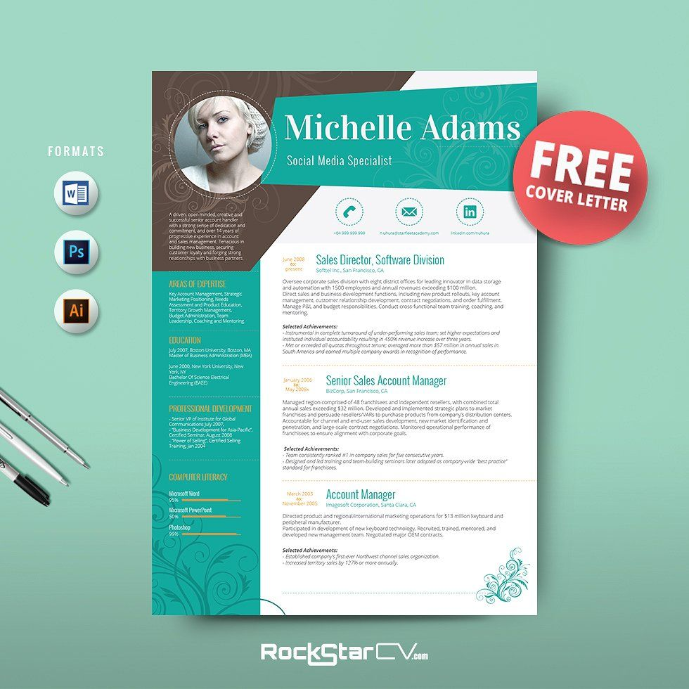 Resume template + FREE Cover Letter by Resume Templates on