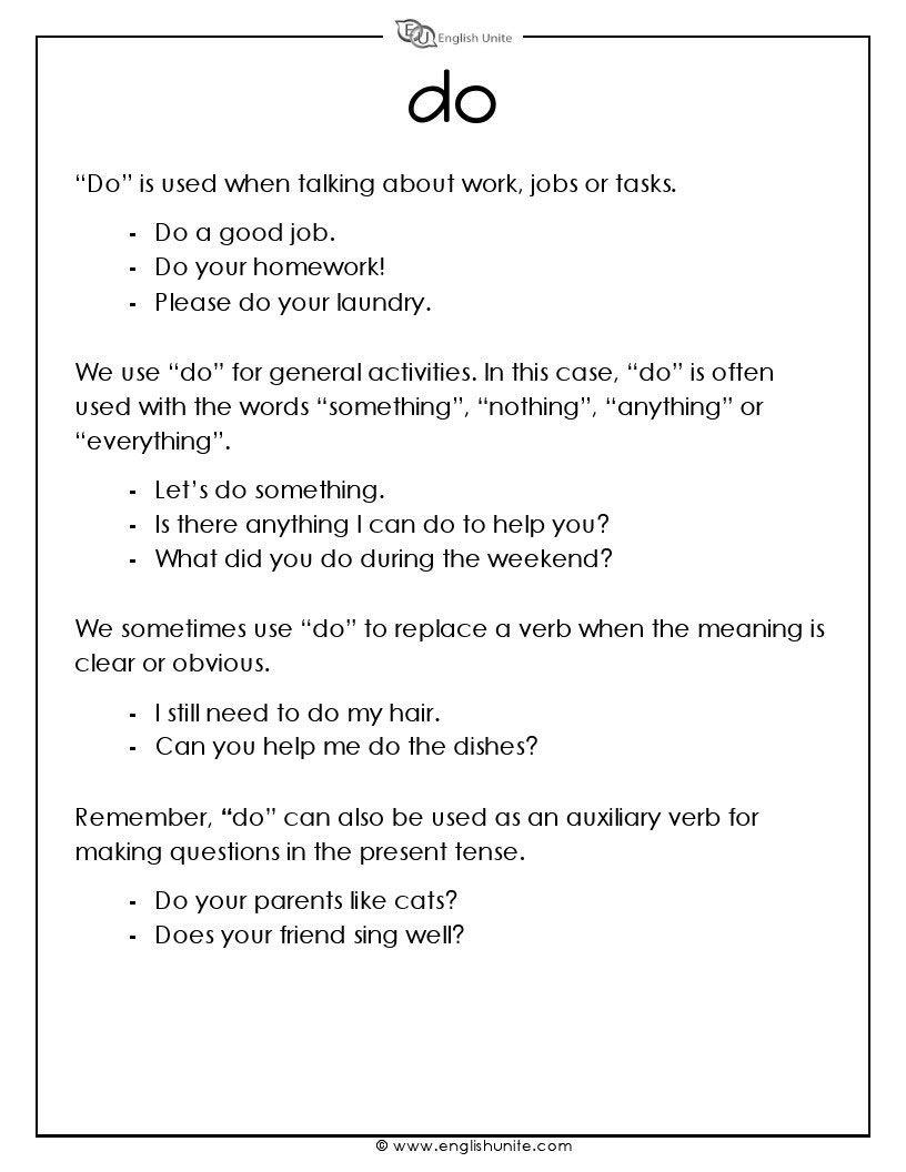 Do Or Make Worksheet English Unite Vocabulary Worksheets English Spelling Rules Grammar Worksheets [ 1056 x 816 Pixel ]