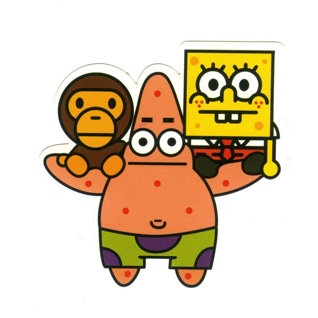 1198 Patrick Star X Baby Milo X Spongebob Height 6 Cm Decal Sticker Decalstar Com Graffiti Characters Spongebob Spongebob Wallpaper