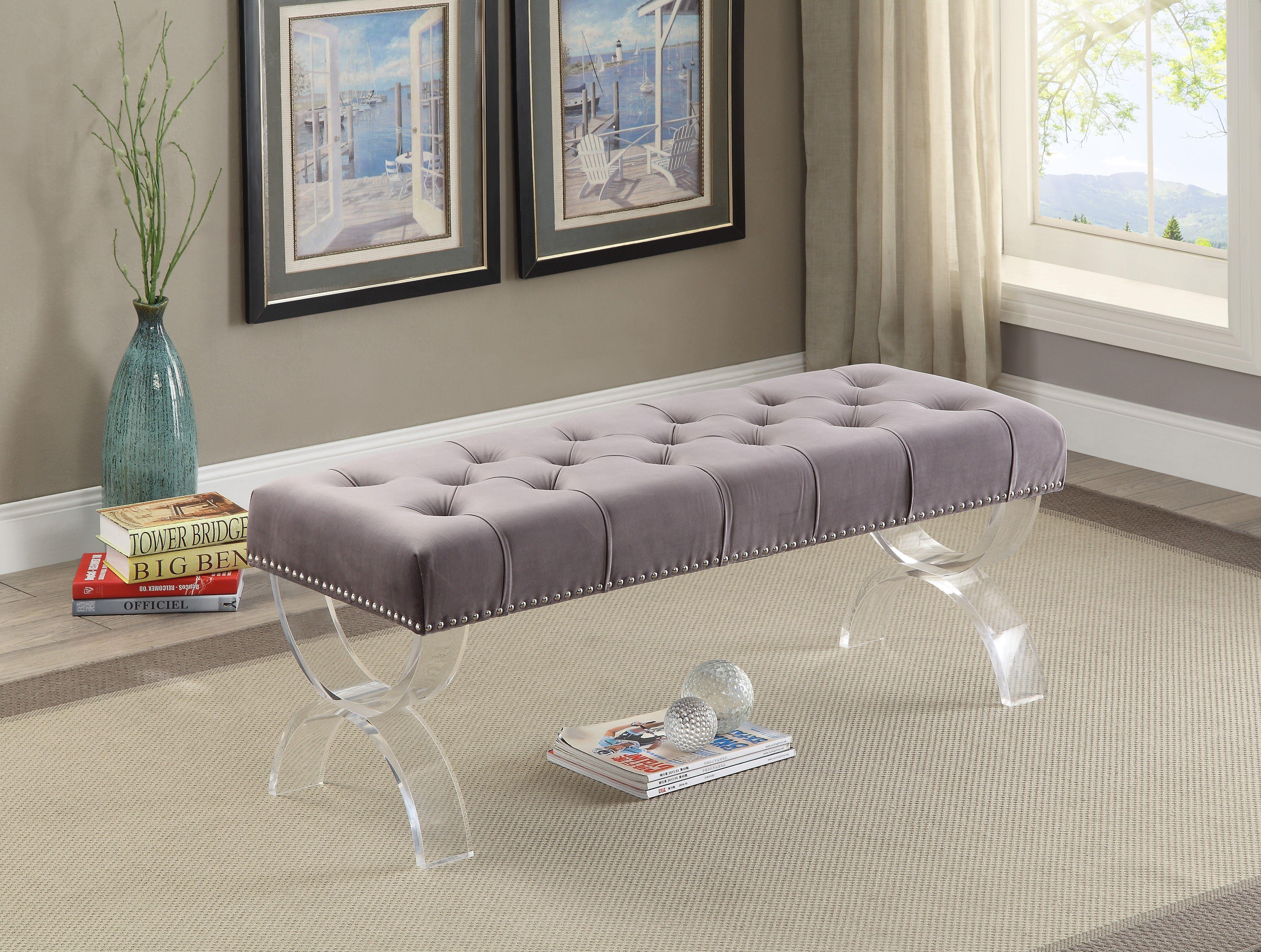Meridian ava grey velvet bench reviews goedekers com furniture usaacrylic furnitureonline furniturebedroom furnituremodern