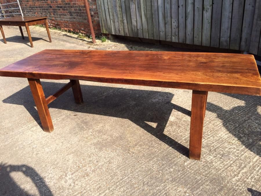 Antique French Farmhouse Normandy Elm Table. Beautiful Farmhouse Table With  Thick Top (6.5cm