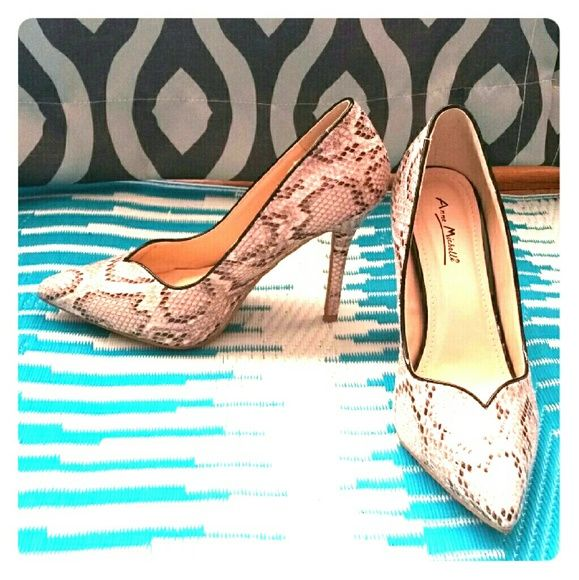 Anne Michelle heels Excellent condition. Never worn.  Snake Print Anne Michelle Shoes Heels