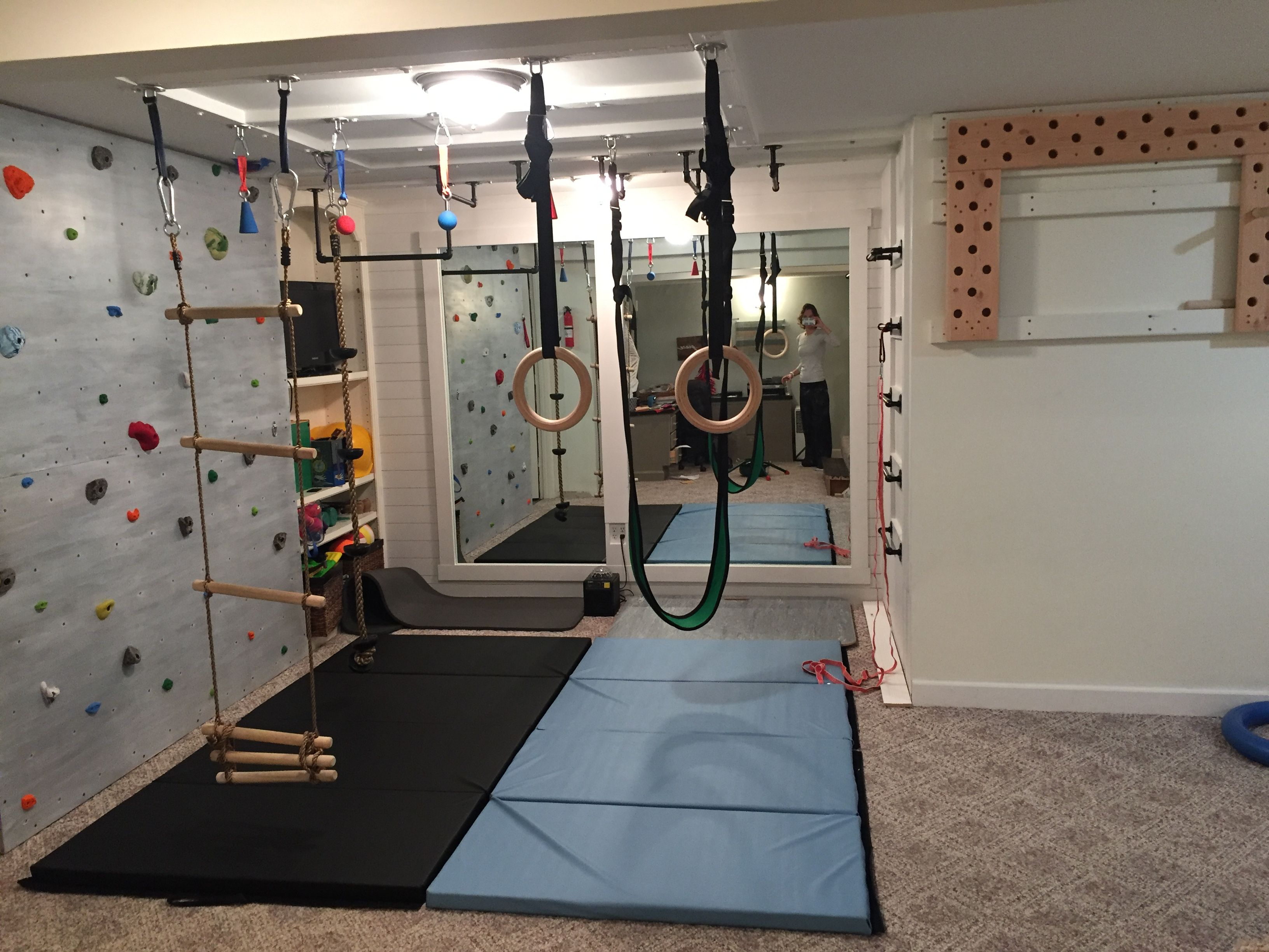 Indoor Basement Playground Ninja Warrior Gym Climbing Wall Pegboard Climber Swing Gymnastic Rings Chin Up Bar