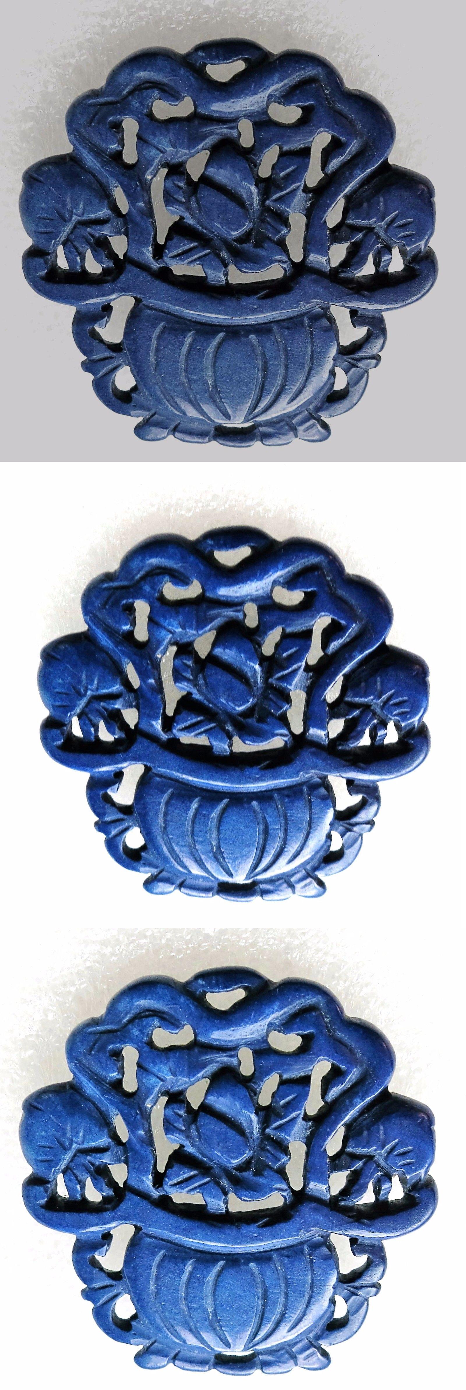 Vintage 3811: Huge Vintage Chinese Carved Blue Jade Flower Basket Pendant 52X50mm BUY IT NOW ONLY: $35.1
