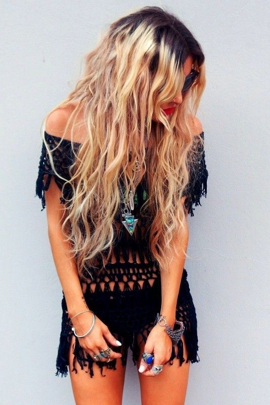 Sexy boho chic black crochet romper with modern hippie chunky turquoise arrow necklace. For the BEST Bohemian fashion trend ideas FOLLOW https://www.pinterest.com/happygolicky/the-best-boho-chic-fashion-bohemian-jewelry-gypsy-/ now!