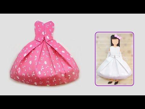 d3c5d4304c37 Come fare un abito di carta  Origami facili ma belli. Origami vestito -  Abiti origami fai da te - YouTube