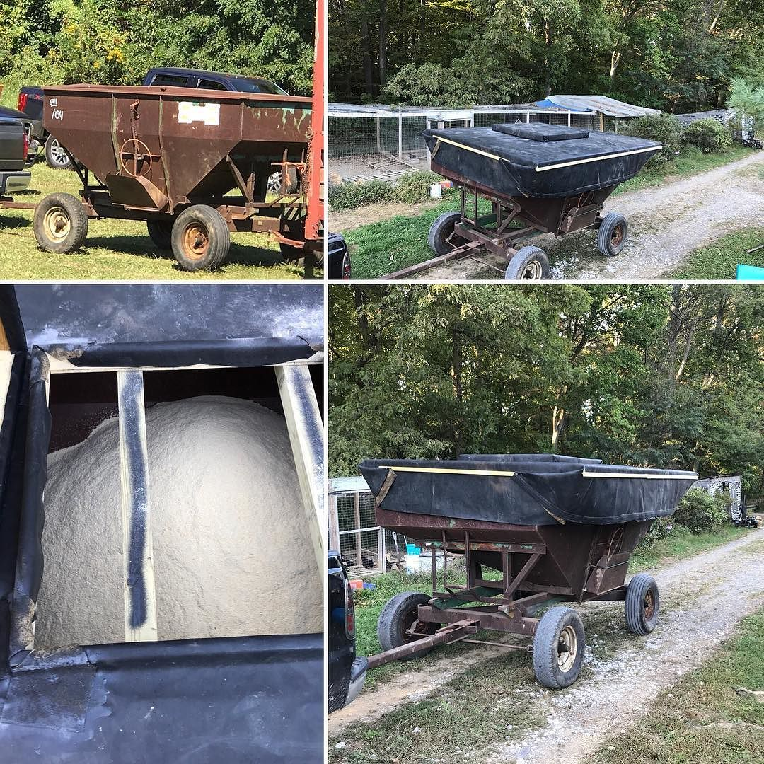 Converted A Gravity Grain Wagon Into A Mobile Feed Silo Built A Roof And Repurposed Old Roofing Rubber This Eliminated The 100 Feed Bags Building Roof Silos
