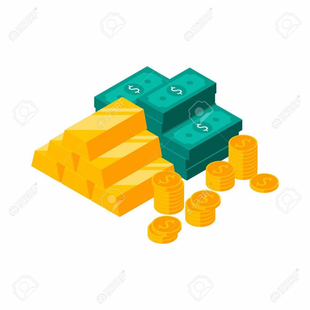 Gold Bars Pile Dollars Bundles Money Dollar Pile Of Money Gold Bar Banner Printing Dollar