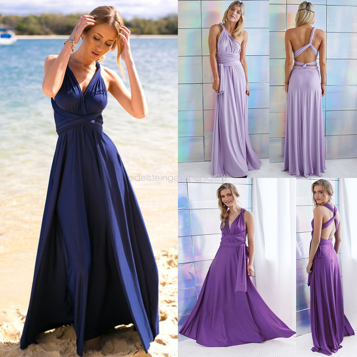 Multi Way Dress Convertible Women Bridesmaid Maxi Full Length Wrap