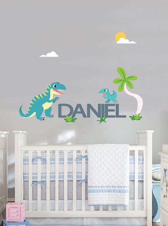 Dinosaur Wall Decals With Name For Nursery TREX And Baby Trex - Dinosaur wall decals nursery