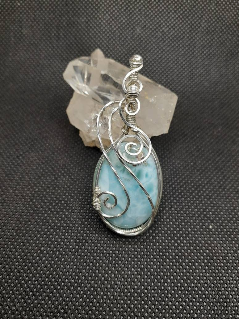 Handmade Laramar Wire Wrapped  Pendant in Sterling Silver Wire