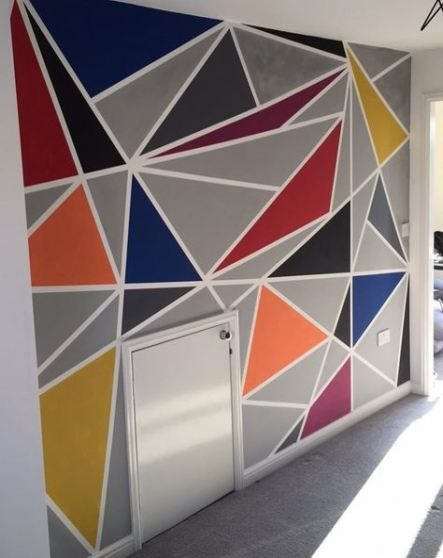 37 Trendy Wall Painting Ideas Geometric Triangles Geometric Wall Paint Bedroom Wall Paint Wall Paint Designs