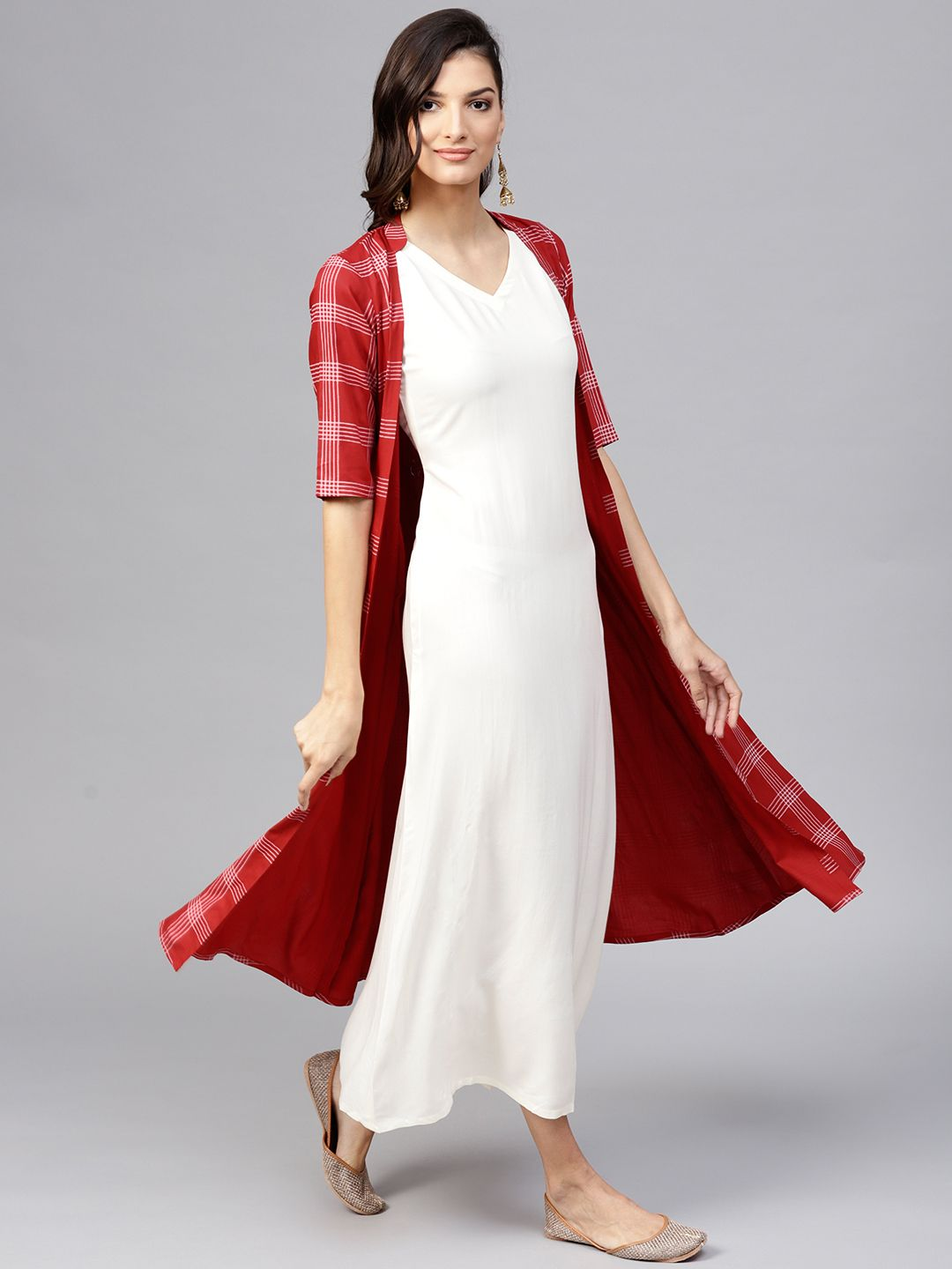 1cff762561 Buy Libas Women Off White & Red Solid Maxi Dress - Dresses for Women  7719027 | Myntra