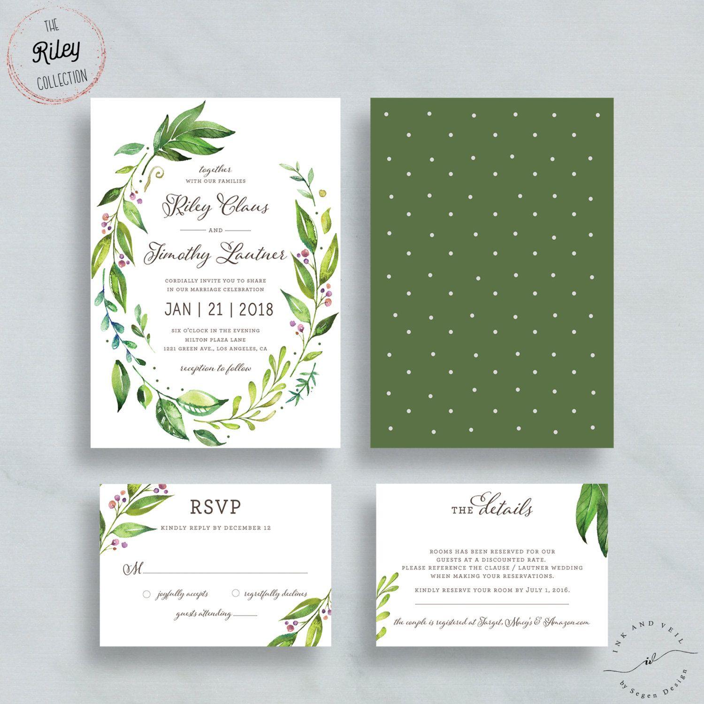 Foliage wedding invitation greenery leafy garden for Garden wedding invitation designs