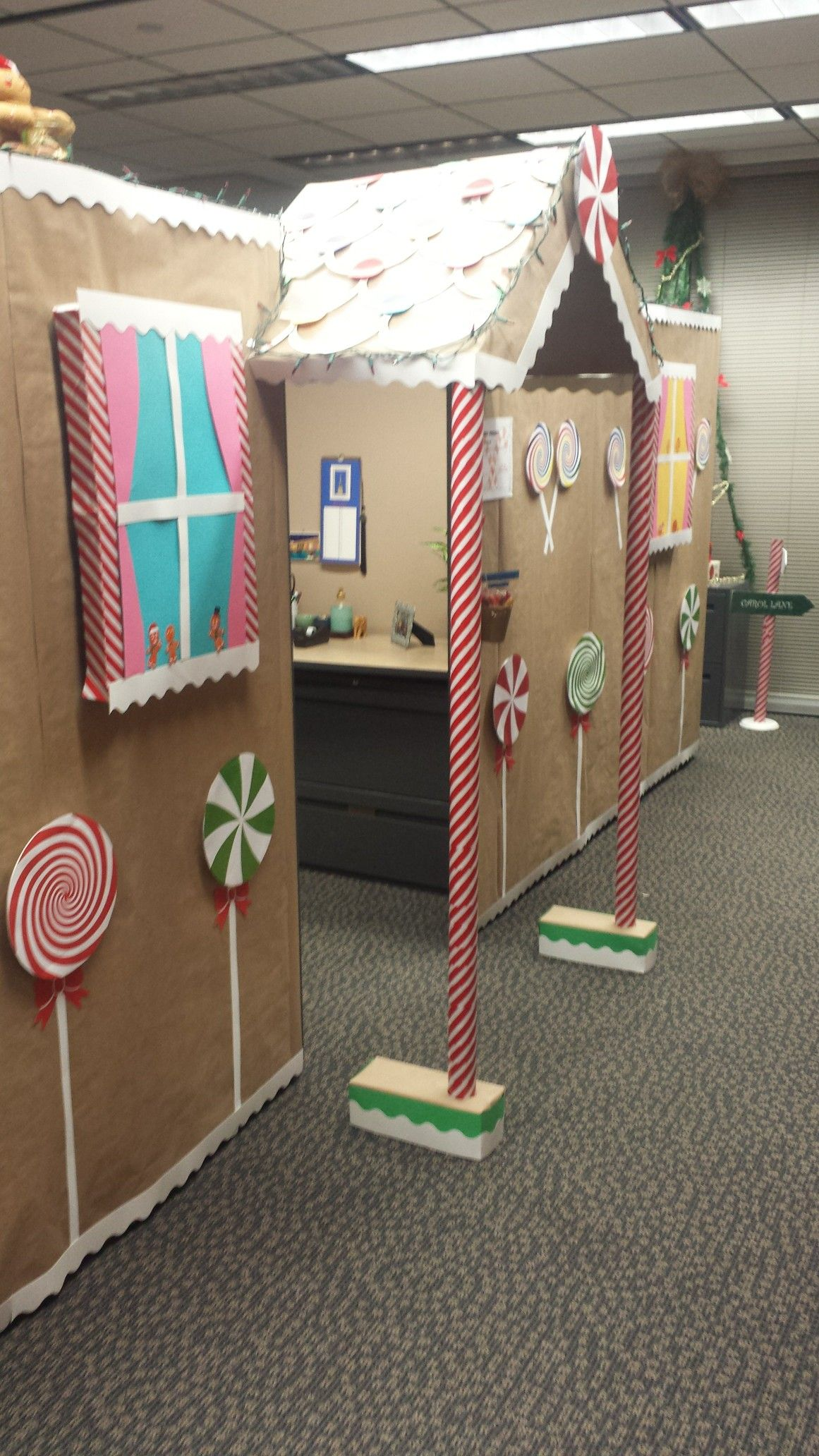 Gingerbread House Office Cubicle Decor #cubiclechristmasdecorations