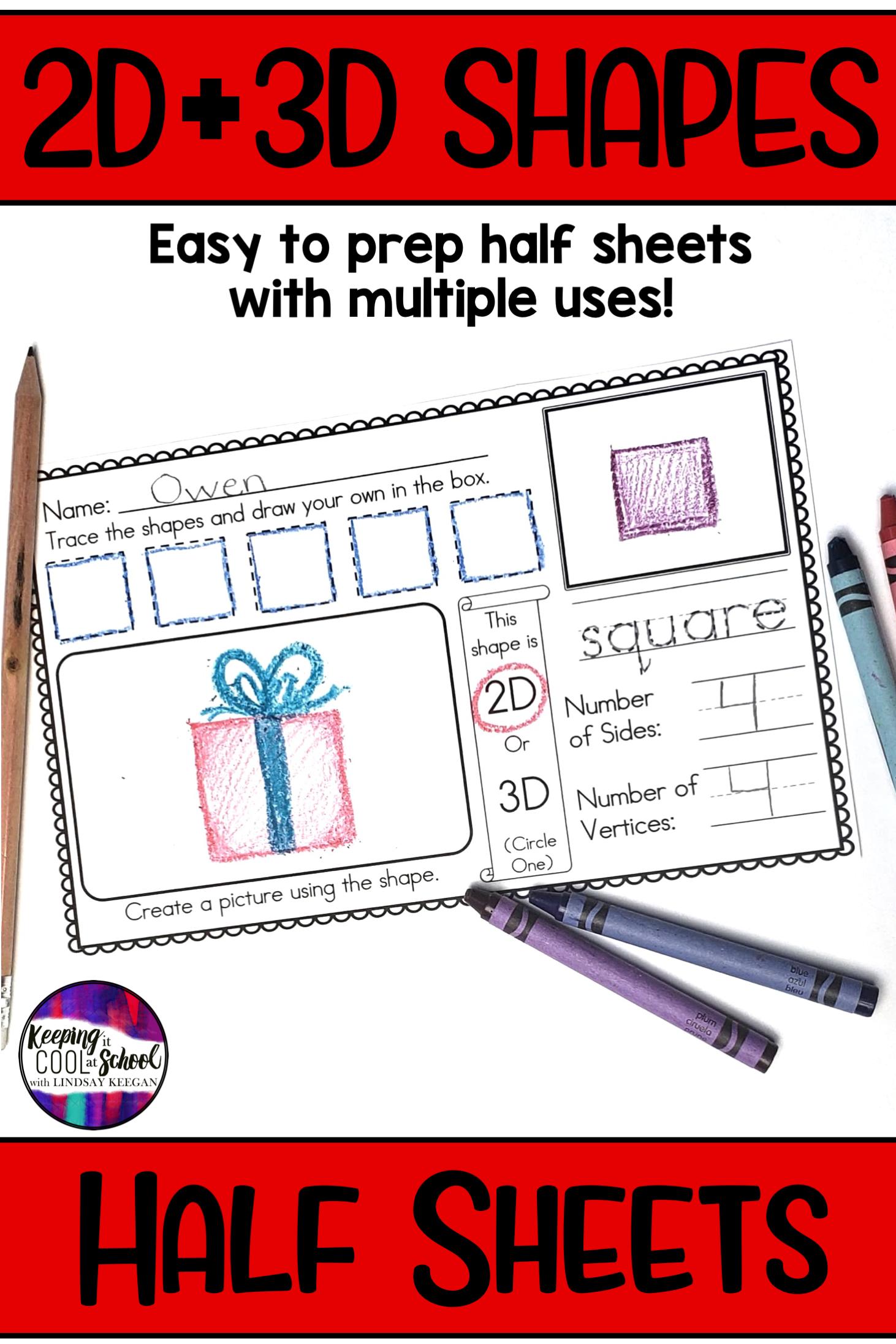 2d And 3d Shapes Half Sheets Or Mini Book
