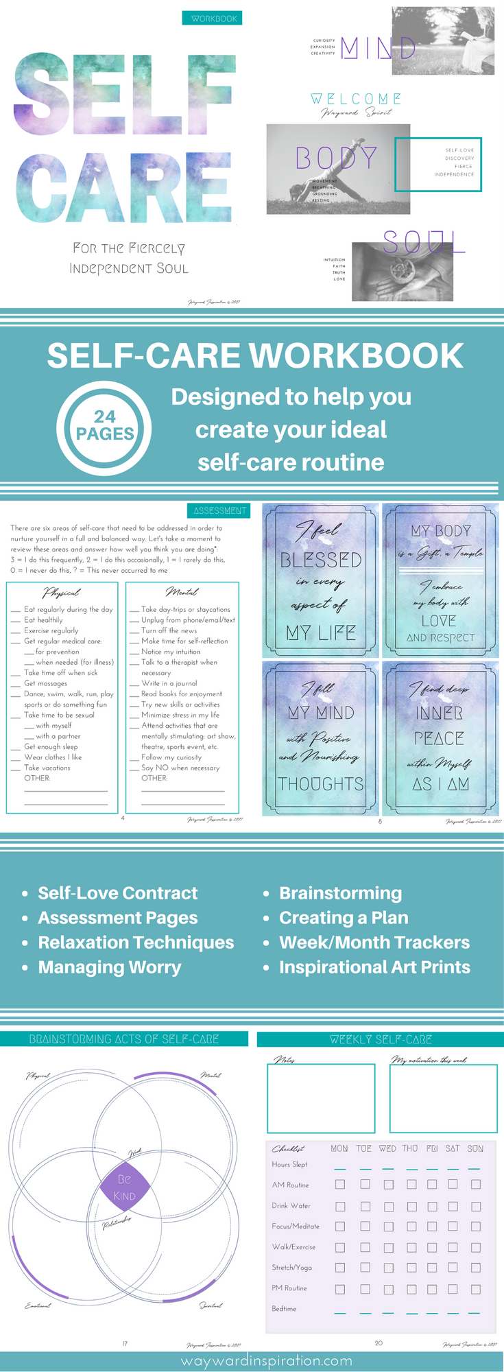 Self Care Workbook | Self Love Journal | Self Care Planner | Self