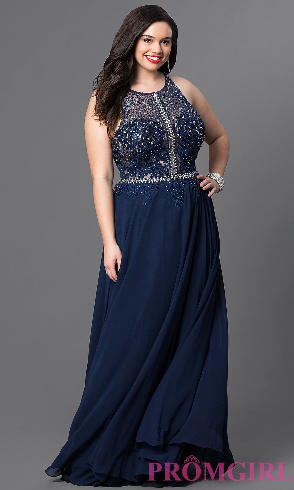 72982aa9a1 Embellished sheer illusion sweetheart long racerback prom dress available  in plus sizes. Style  DQ-9283Pn