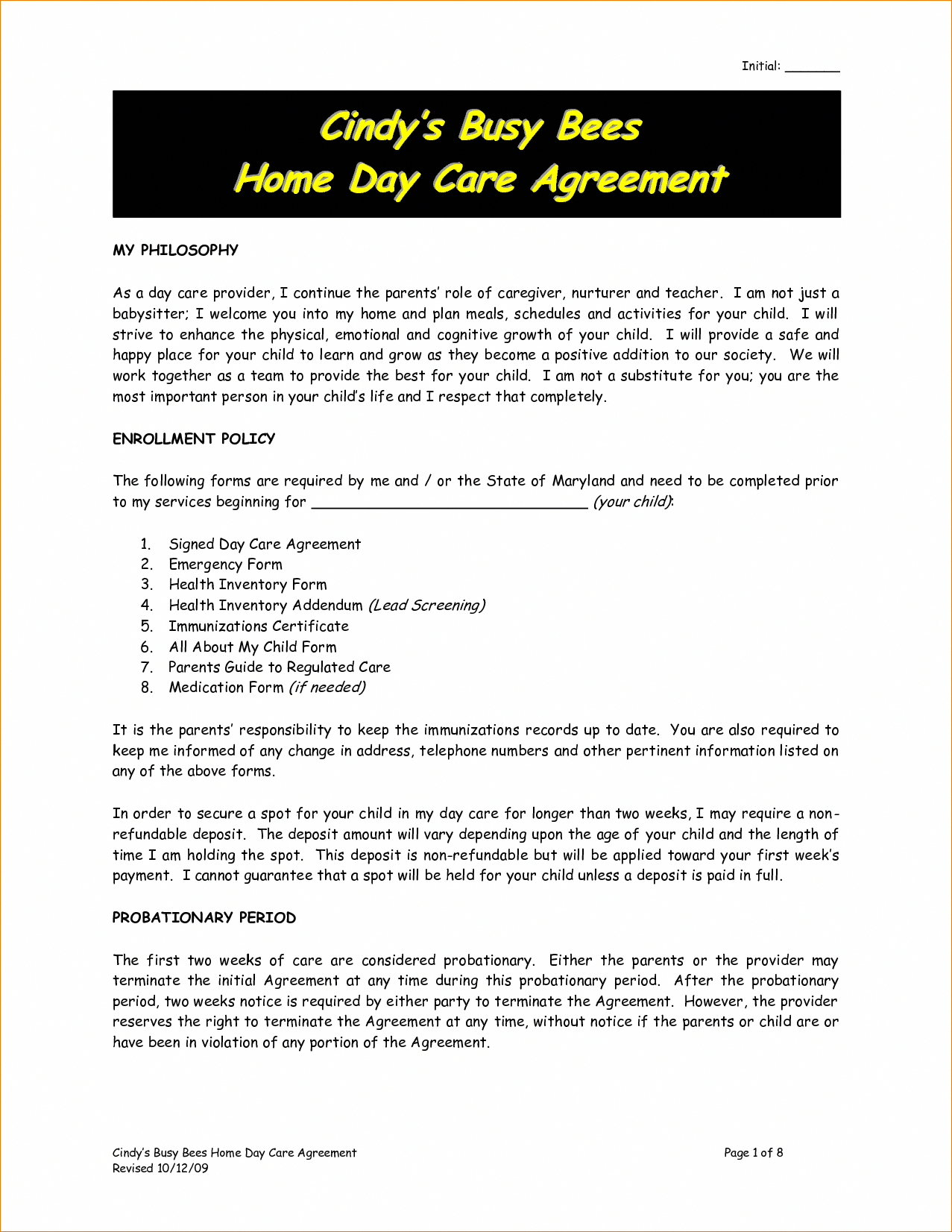 Sample Home Child Care Contracts