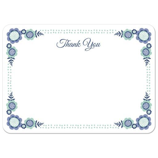 Blue Bloom Flat Thank You Note Card With Cute Flower Corner And Dot Border Thank You Note Cards Note Cards Thank You Notes