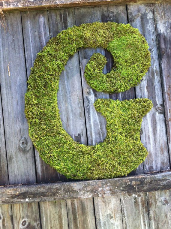 Moss Covered Letters Large Moss Covered Letter G  Rustic Wedding  Monogram  Home