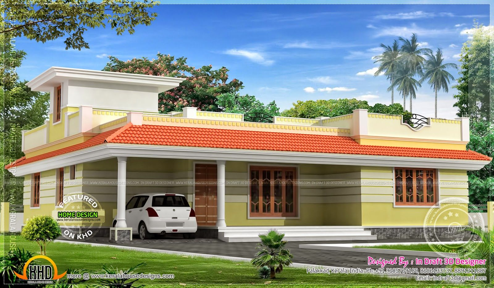 Front Elevation Of Kerala Model Houses : Kerala model single floor home plan pinterest