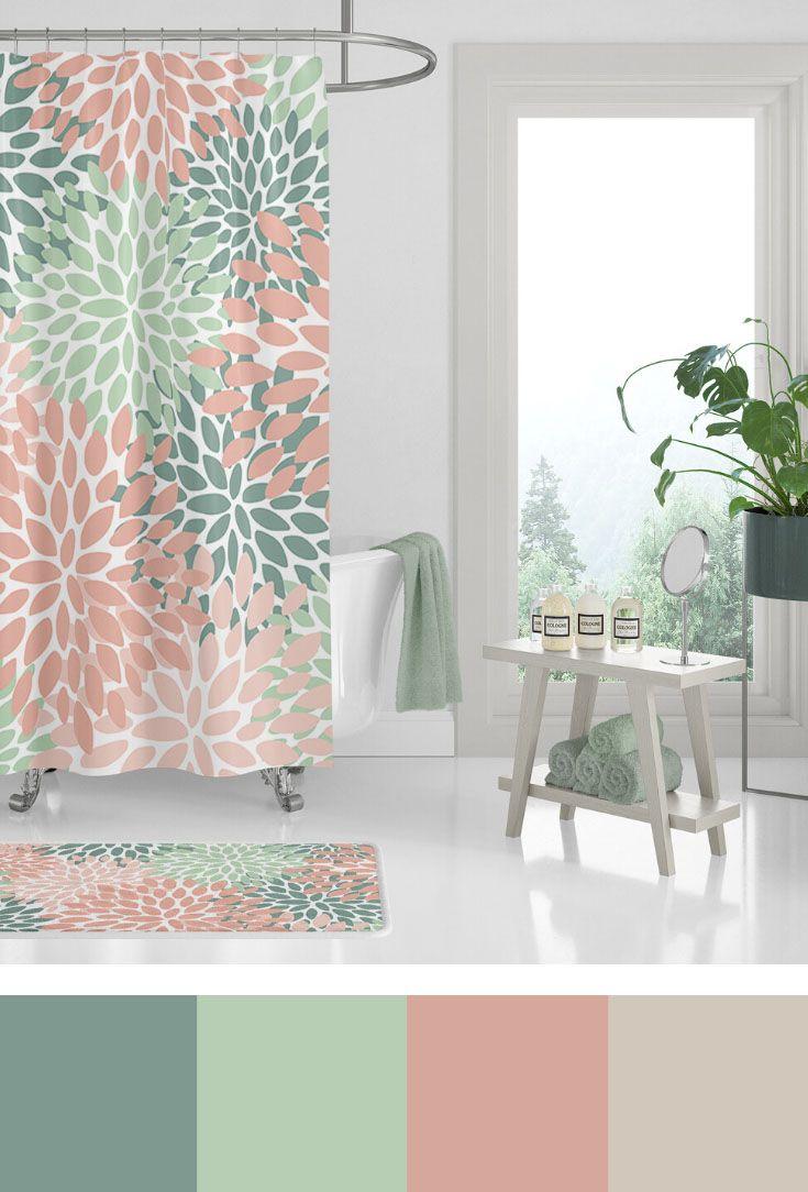 green bathroom floral shower curtain