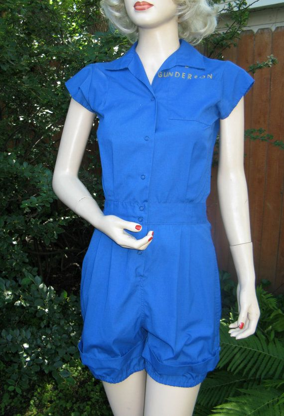 Vintage 1950s Womens Blue Gym Suit Romper by by threemartinilunch
